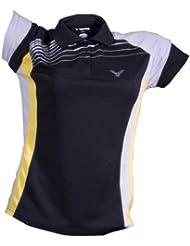 VICTOR Polo pour Femme Black 6410, noir, gris, jaune