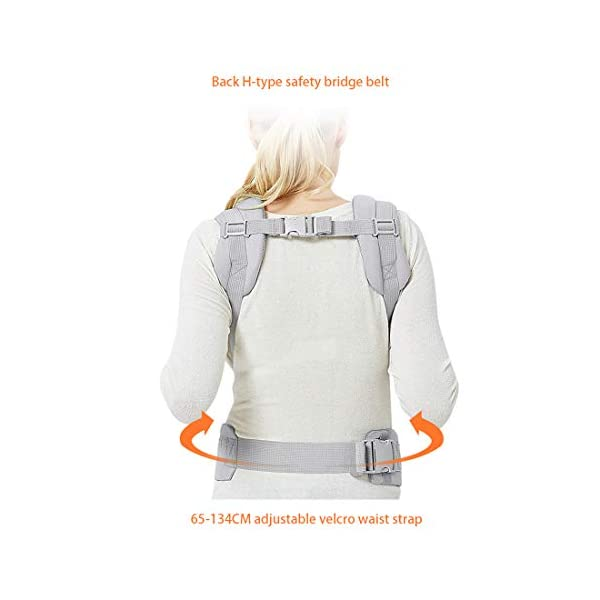 """Viedouce Baby Carrier Ergonomic/Pure Cotton More Lightweight and Breathable/Multiposition: Dorsal and Ventral/Adjustable Headrest/for Newborn and Toddler 3 to 48 Month (3.5 to 20 kg) Viedouce 【Pure Cotton】- All our baby carriers are made of high quality fabric and free from harmful substances. The fabric is breathable, skin-friendly and soft, it is made of premium natural pure cotton to to keep baby's soft skin safe and comfort baby wearing in four seasons. Adequate safety tests ensure the soft fabrics gently hug your baby's back, legs and hips, and provide good support. 【Ergonomic Design】- Our ergonomic backpack carrier makes it easy for you to give your child the closeness and security they need. You can see and feel your baby's position and the natural C curve of their back.Ergonomic Butterfly adjustable seat and leg openings facilitates the thighs, knees and lower legs to be correctly placed and supported in an M shape that prevents """"Developmental Hip Dysplasia"""". 【Waist Belt & Shoulder Straps】- Upgraded wide waist belt and shoulder straps padded with soft material eases pressure on the back and shoulder, releasesing burden in a large extent when you carry your baby. Luxuriously thick and soft padding in the shoulder straps give you superior carrying comfort and prevent straps from slipping off. Adjustable shoulder straps are suitable for moms and dads of all shapes and sizes. You won't feel tired while carrying baby for a long time. 7"""