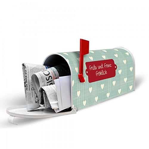 banjado-Personalisierter-weier-Amerikanischer-Briefkasten-17cm-x-22cm-x-51cm-mit-Motiv-Muster-Herzen