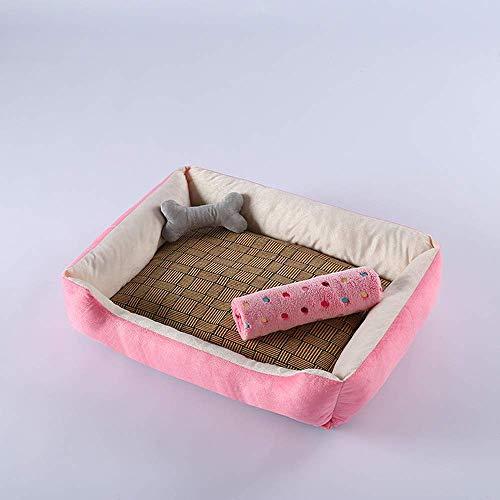 Waschbares Haustierbett für kleine Welpen und Katzen, mittelgroß, groß, große Hunde Bettwäsche + Kissen + Sommer-Schlafmatte + Decke (rosa + weiß)