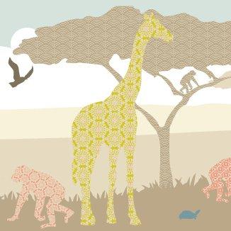anna wand Bordüre selbstklebend HELLO AFRIKA NATURFARBEN - Wandbordüre Kinderzimmer / Babyzimmer mit Afrika-Tieren in Naturtönen - Wandtattoo...