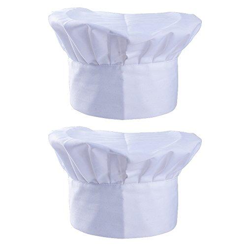 SERWOO 2pz Cappello da Cuoco Chef Donna Uomo Regolabile Bianco