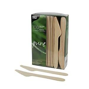 100 couteau jetable 16,5 cm en bois couverts jetables