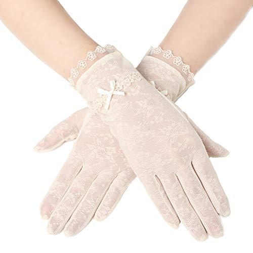 ArtiDeco Damen Lace Handschuhe Satin Braut Hochzeit Spitze Handschuhe Opera Fest Party Handschuhe 1920s Handschuhe Damen Kostüm Accessoires (Kurz Bogen Beige) -