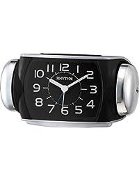 Rhythm black sqaure super silent alarm clocks 10x18x10Cm