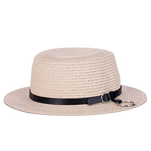 Fxhang Dame Sun Caps Ribbon Round Flat Top Gürtel Stroh Strand Hut Panama Hut Sommer Hüte für Frauen Strohhut,Beige,55-58cm