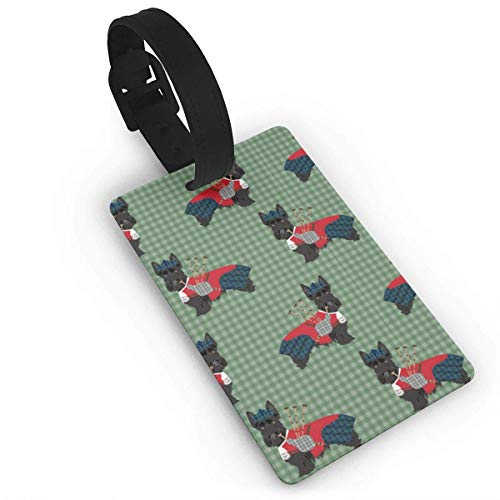 Scottie Dog with Bagpipes Pattern Personal Expression Luggage Tag, -