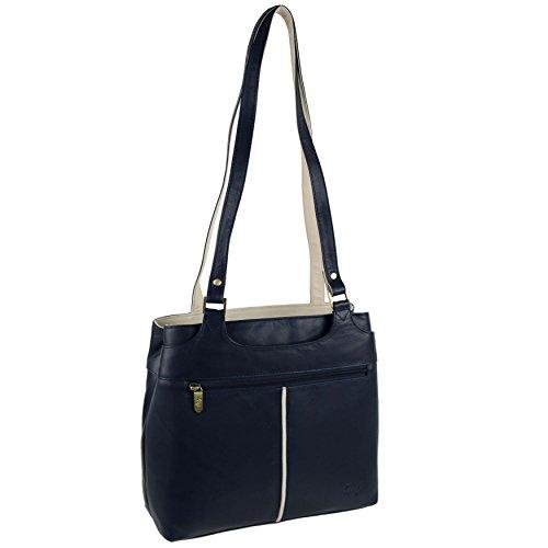 34afd9dfa1d35 Damen Bicolor Schulter Handtasche aus weichem Leder von Gigi Othello  Collection Bag Navy Ivory