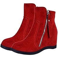 Formulaone Botas Cortas de Invierno Zapatos de algodón Botas Casuales de Las Mujeres cálidas Botas de algodón cómodas - Rojo 37
