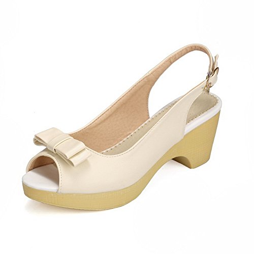 Damen Schnalle Mittler Absatz PU Leder Gemischte Farbe Fischkopf Schuhe Sandalen, Blau, 41 AllhqFashion