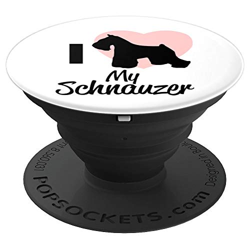 Niedlich Ich liebe Mein Schnauzer Hund Rosa Herz Silhouette - PopSockets Ausziehbarer Sockel und Griff für Smartphones und Tablets -