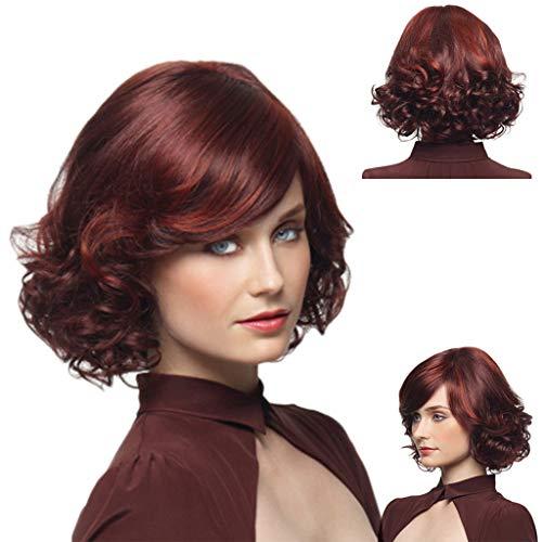 Perruques Femme,Binggong Mode Synthétique Court Vin rouge Cheveux bouclés Haute Qualité Perruque Cosplay Pour Femmes Complète bouclé ondulé Chaleur résistant.