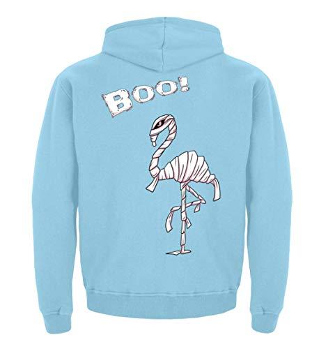 Boo! BUH! Lustiges Halloween Motiv für Flamingo Liebhaber - Flamungo im Mumien Kostüm - Kinder Hoodie