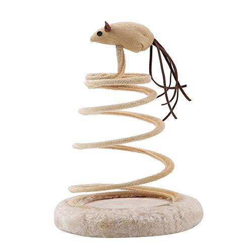 HEEPDD Katze Spiral Saugnapf Maus Frühling Spielzeug lustige Katze Teaser interaktives Spielzeug Kätzchen Scratcher Katze Zubehör für kleine Tiere Haustiere Spielen springen Fangen -