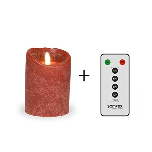 Sompex - Vela LED (con mando a distancia), color burdeos esmerilado Incluye mando a distancia.