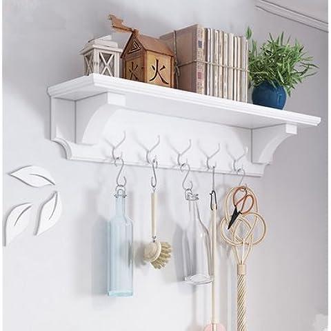 Pareti di soggiorno cremagliera appendiabiti in legno, montaggio a parete creativa rack,Bianco