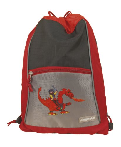 PLAYMOBIL Kinder Turnbeutel Drachen, rot-dunkelgrau, 27 x 33 cm