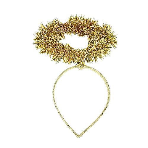 Haarreif für Mädchen, Weihnachtsdesign, Lametta, Engel-Design, goldfarben (Kostüm Kopfbedeckung Zähne)