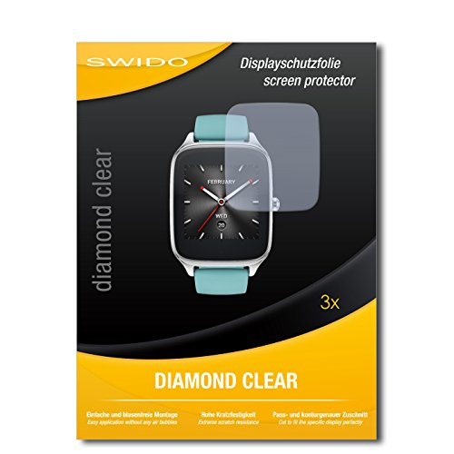SWIDO 3 x Schutzfolie Asus Zenwatch 2 WI501Q Bildschirmschutz Folie DiamondClear unsichtbar