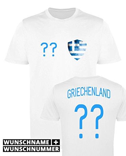 Comedy Shirts - Griechenland Trikot - Wappen: Klein - Wunsch - Damen Trikot - Weiss/Blau Gr. L