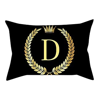 Y56(TM) Black Decorative Throw Pillow Cases Gold Alphabets A-Z Letter Rectangle Pillow Covers Pillowcases Bed Sofa Soft Cushion Covers for Bedroom Decorations Home Decors (D)