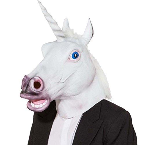 NET TOYS Maske Einhorn Einhornmaske Pferdemaske mit Horn Einhornkostüm Zubehör Filly Faschingskostüm Accessoire Fantasy Kostümzubehör Karneval