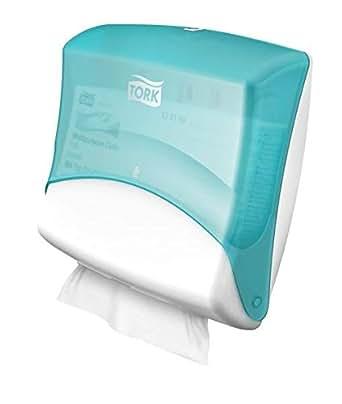 TORK 654000 Distributeur de papiers/chiffons pliés Turquoise/Blanc W4, vendu à l'unité