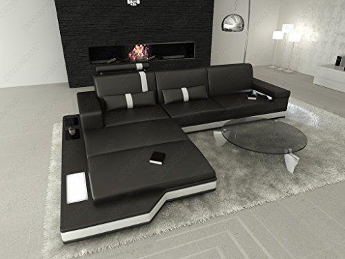 Divanova | divano moderno proxima angolare in vera pelle e similpelle - nero e bianco