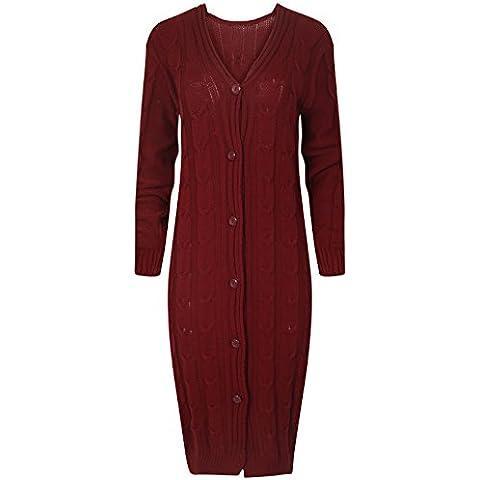 LCL- Pulsante delle signore delle donne a maniche lunghe fino Chunky Cavo lavorato a maglia nonno maxi cardigan S-XL( TM-Love Celeb Look)