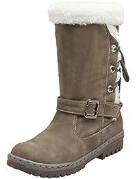 e716b278759bb Bottines CIELLTE Femme Bottes de Hiver Mode Bottes de Neige Mi-Longue  Fourrure Doublure Boots