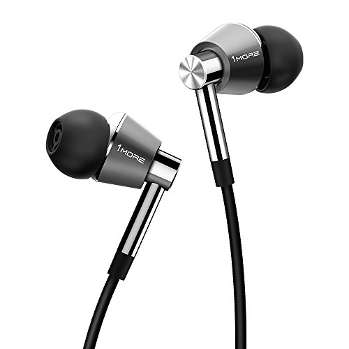 1MORE Triple-Driver HiFi Auriculares In-Ear Hi-Res Audio con Cable Integrado de Control Remoto y Micrófono para iPhone y Android Teléfono Móviles,E1001 Plata