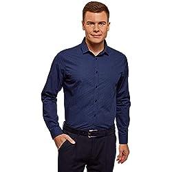 oodji Ultra Hombre Camisa Entallada a Lunares, Azul, сm 42 / ES 52 / L
