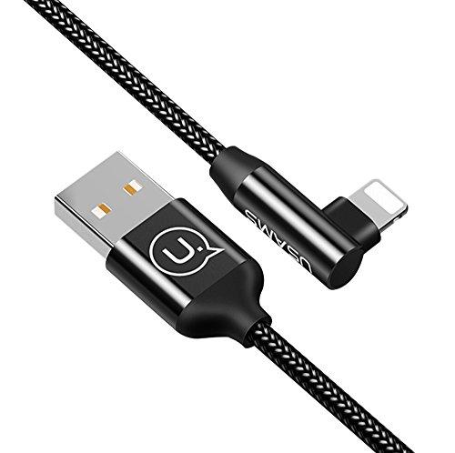 Lightning Kabel Geflochten, 4Fuß/1.2m iPhone Ladekabel Datenkabel,90 Grad Rechts Winkel Stecker Nylon Kabel mit 1 Jahr Garantie für iPhone X/iPhone 8/8PLUS/7/7 Plus/6/6 Plus/5s/iPad und mehr
