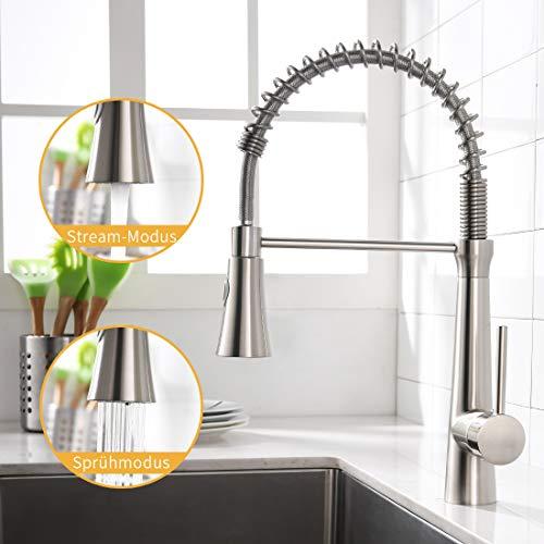 AIMADI Wasserhahn Küche Mischbatterien Küchenarmatur Brause Ausziehbar Spiralfederarmatur Küchenspüle Armatur Geschirrbrause Spültischarmatur Gebürsteter Nickel