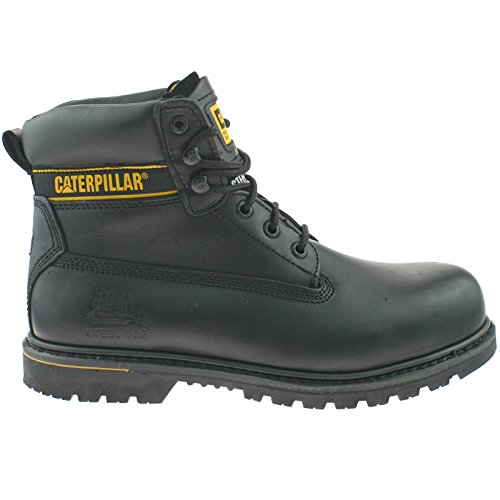 "Caterpillar Mens Holton SB Wide FIT Leather Safety Steel Toe Cap 6"" Work Boots -Black-UK 14 (EU 48) Black Steel Toe Work Boot"