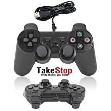 takestop® JOYSTICK JOYPAD con filo WIRED COMPATIBILE PS3 PER PLAYSTATION 3 CONTROLLER NERO BLACK dual