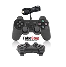takestop® JOYSTICK JOYPAD con filo WIRED COMPATIBILE PS3 PER PLAYSTATION 3 CONTROLLER NERO BLACK dual shock