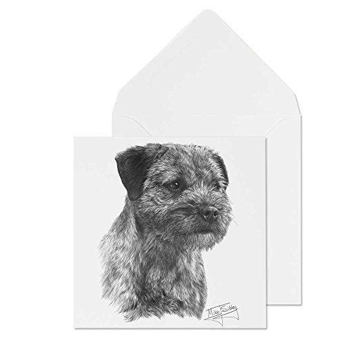 Mike Sibley Print Border Terrier Hunderasse blanko Grußkarte Alle Anlässe. Versandkostenfrei -