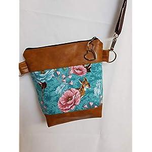 Dirndl Tasche Handtasche Umhängetasche braun türkis Kunstleder Reh Blumen Oktoberfest Bambi