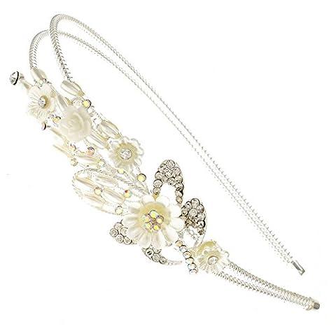 Daisy and Rose Flower Bouquet Crystal Acrylic Silver Bridal Side Hair Band Tiara Headband Accessory