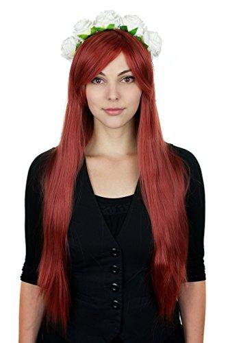 Glatte Perücke 80cm Dunkel-rot Volumen Wig Cosplay Hitzefest Wig C488 ()