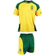 Equipación de fútbol de la selección de Brasil: camiseta + pantalón, colección oficial, talla infantil