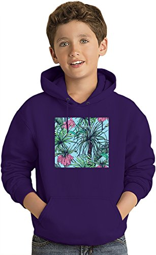 Palm Leaf Pattern Kinder Leicht Kapuzenpullover Lightweight Hoodie For Kids | 80% Cotton-20%Polyester| 12-13 yrs