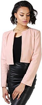KRISP Bolero Mujer Fiesta Boda Chaqueta Rosa Plateado Casual Torera Abierta