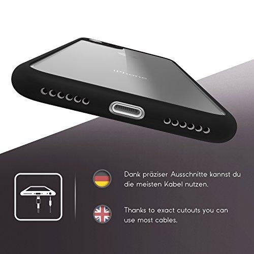 Urcover® Apple iPhone 7 / 8 Schutzhülle transparent mit Rahmen in Rosa Back-Case Cover Smartphone Schale Schwarz