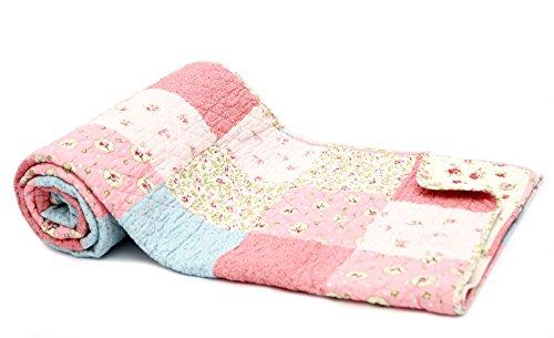 1001Wohntraum 17jn02r Quilt Emma Rosa, 200x 230cm, Plaid Colcha, patchwork de Landhaus Vintage Shabby, multicolor