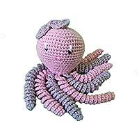 Pulpo amigurumi para recién nacido en color gris y rosa palo. Pulpo de ganchillo - crochet para bebé, ideal como regalo de nacimiento.