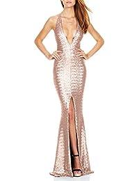 Ghope Halter sangles sexy robe fente de soirée profonde discothèque V robe à paillettes sequin longue Bal Cérémonie Forme