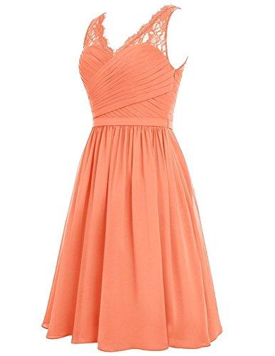 HUINI Damen Brautjungfernkleider Kurz Chiffon V-Ausschnitt mit Spitzen Ballkleider Abendkleider Partykleider Cocktailkleider Orange