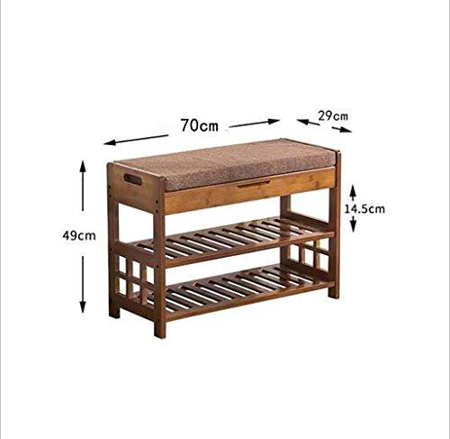 LQQGXL Europäischer Stuhl Hocker Schuhe Bankhocker Padded Shoe Cabinet Schuhe Einfache Bambus Storage Dark Storage Hocker (Farbe : B) (Natur Hocker-bar Bambus)
